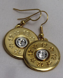 SouthLife Supply Abigail Shotshell Single Dangle Earring in Traditional Gold with Crystal, Gold, hi-res