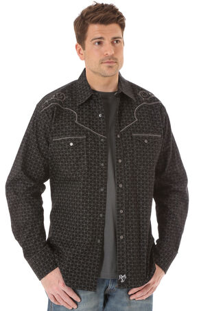 Wrangler Rock 47 Men's Embroidered Yoke Black & Grey Print Shirt, Black, hi-res
