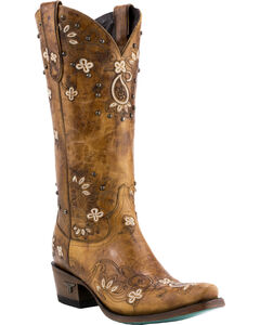 Lane Women's Sweet Paisley Boots - Pointed Toe , Tan, hi-res