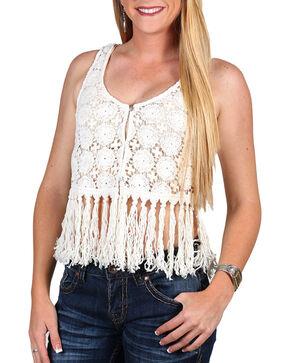 Shyanne Women's Crochet Fringe Vest, Ivory, hi-res