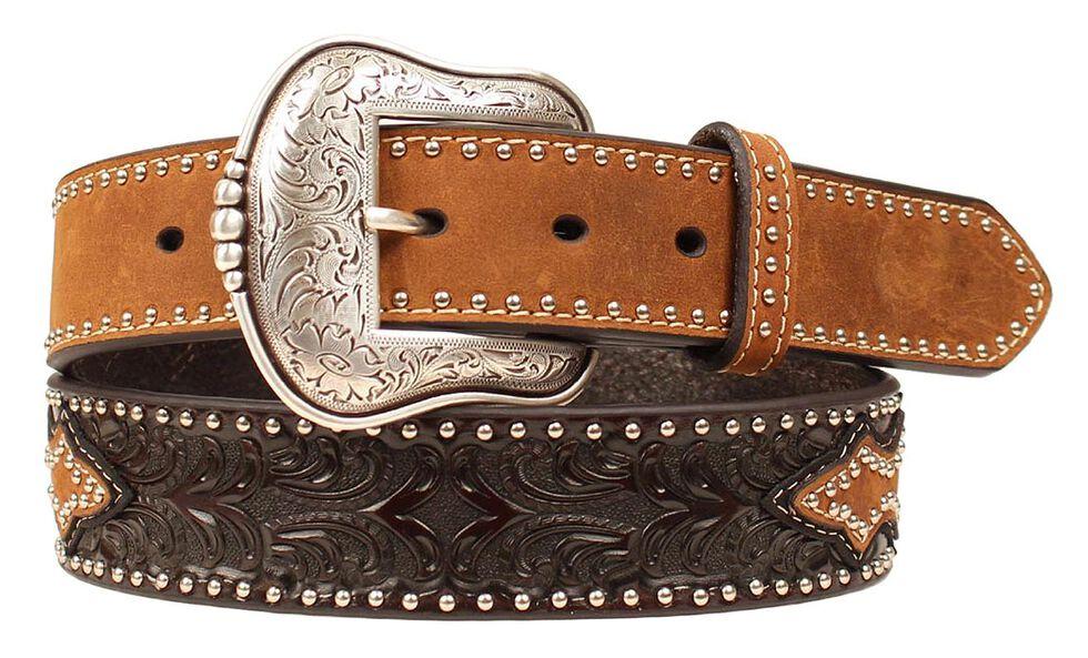 Nocona Men's Tooled Studded Leather Belt, Brown, hi-res