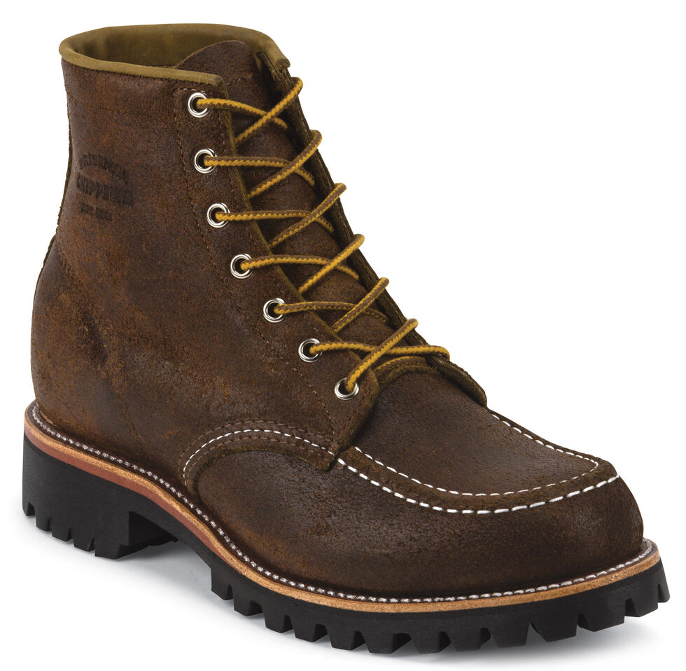 """Chippewa Men's 6"""" Lace-Up Brown Suede Field Boots - Moc Toe, Dark Brown, hi-res"""
