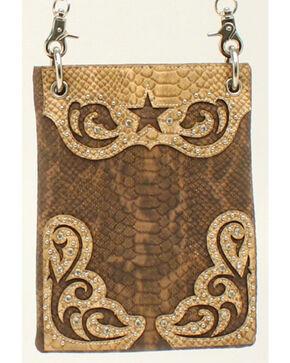 Blazin Roxx Snakeskin Star Messenger Bag, Brown, hi-res