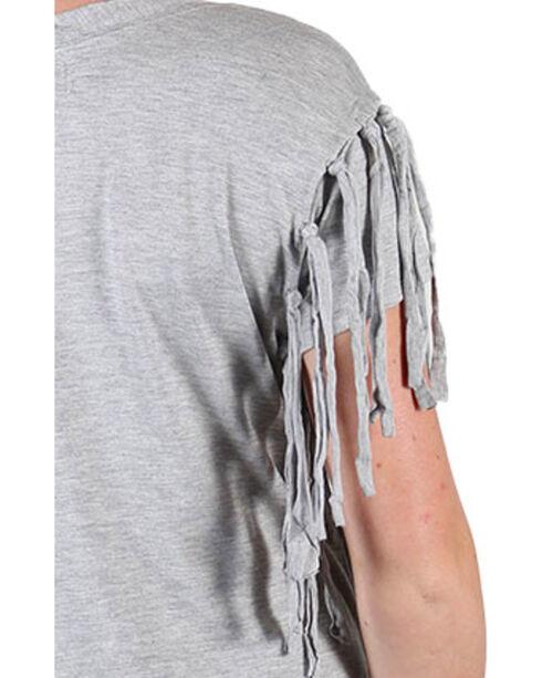 Shyanne Women's Paisley and Fringe Short Sleeve Shirt , Heather Grey, hi-res