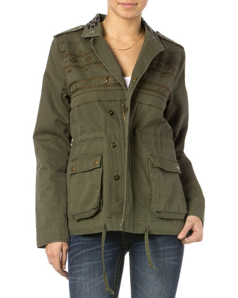 Miss Me Olive Snap To It Cargo Jacket , Olive, hi-res