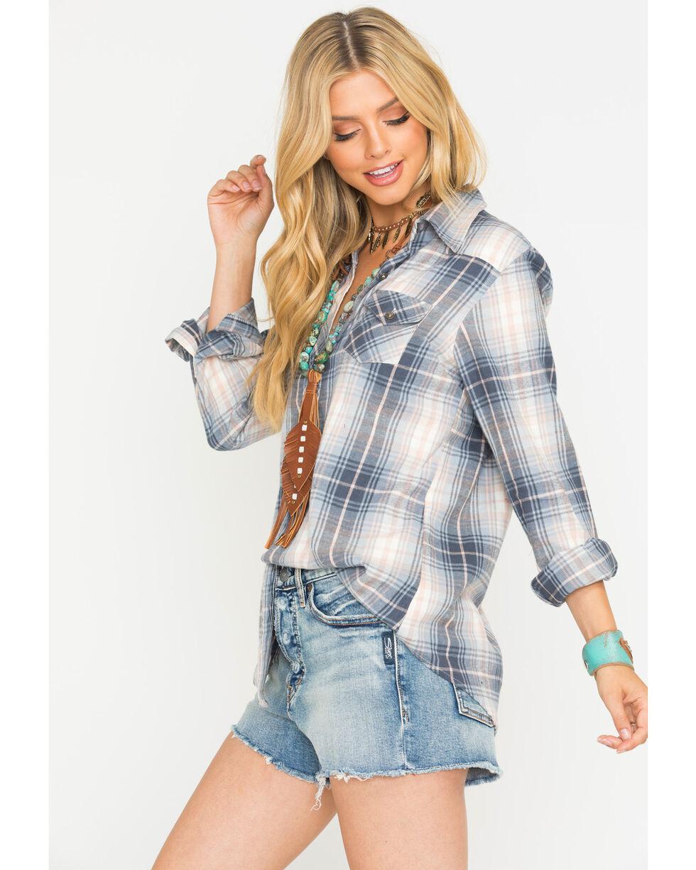 Angie Women's Blush/Grey Plaid Long Sleeve Shirt, Multi, hi-res
