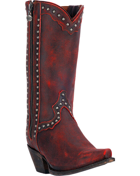 Dan Post Red Studded Cowgirl Zip Boots - Snip Toe , Red, hi-res