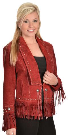 Scully Long Lapel Suede Fringe Jacket, , hi-res