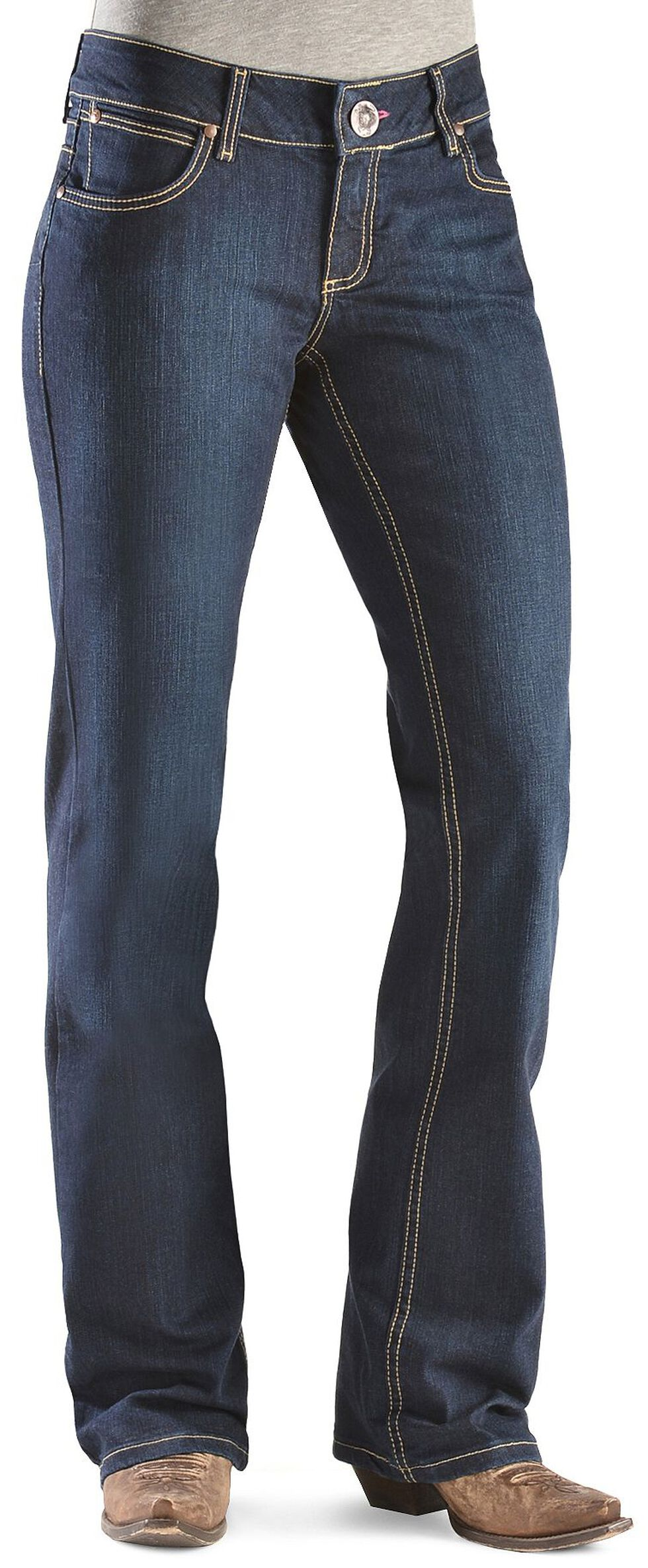 Wrangler Women's Dark Rinse Retro Mae Booty Up Jeans, Denim, hi-res