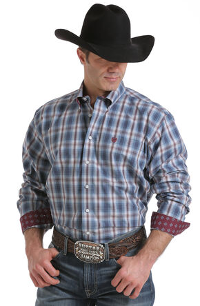 Cinch Men's Blue Single Pocket Long Sleeve Shirt, Blue, hi-res