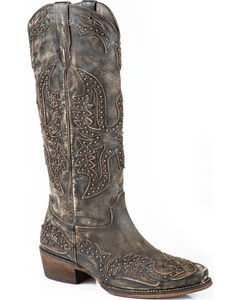 Roper Brown Studded Eagle Cowgirl Boots - Snip Toe , Brown, hi-res