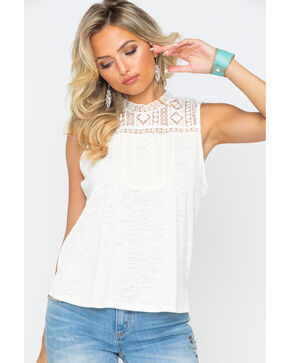 Eyeshadow Women's Textured Sleeveless Crochet Yoke Top , Ivory, hi-res