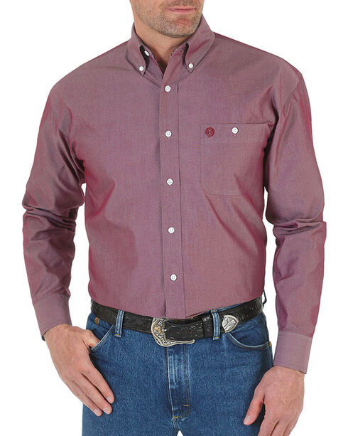 Wrangler Men's Rustic Long Sleeve Shirt, Burgundy, hi-res