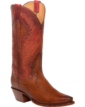 Lucchese Women's Tan Everly Ring Lizard Western Boots - Snip Toe, Tan, hi-res