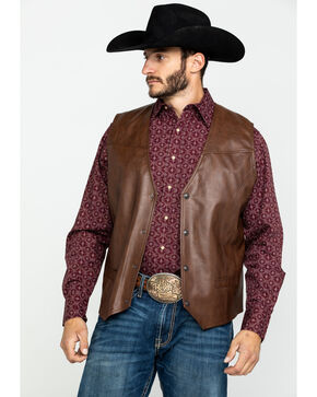 Cripple Creek Men's Whiskey Brown Faux Leather Vest , , hi-res