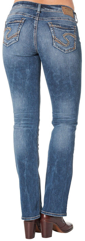Silver Women's Suki Mid Slim Bootcut Medium Wash Jeans - Plus Size, Blue, hi-res