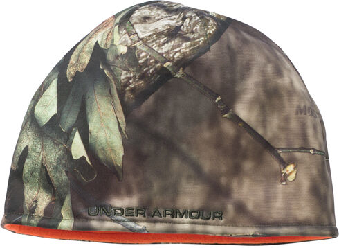 Under Armour Men's Camo Reversible Fleece Beanie Cap, Mossy Oak, hi-res