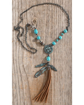 Shyanne Women's Odessa Beaded Feather Tassel Necklace , Turquoise, hi-res