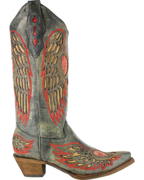 Corral Women's Wing and Heart Western Boots - Snip Toe , Black, hi-res