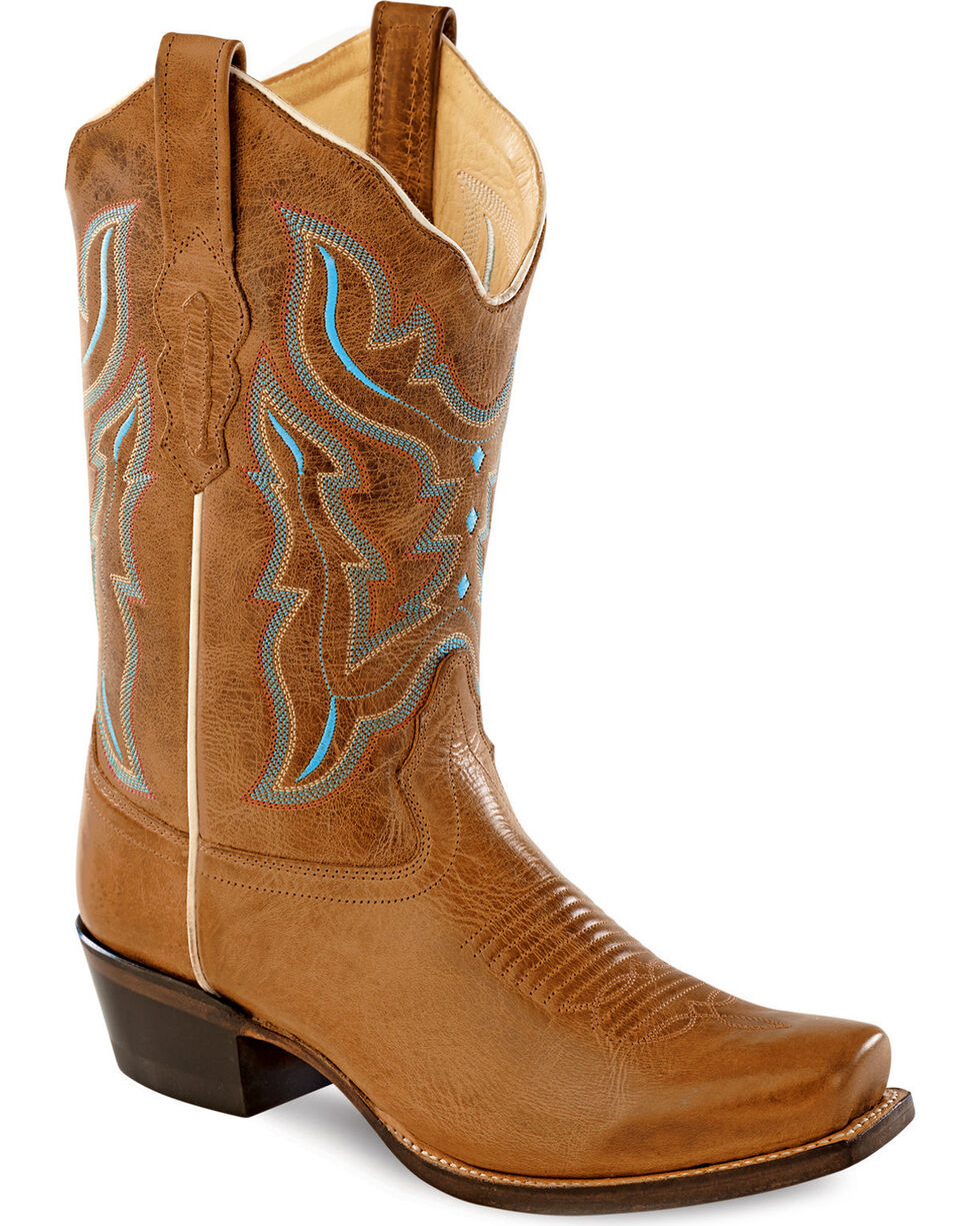 Old West Embroidered Cowgirl Boots - Square Toe, Light Brown, hi-res
