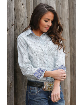 Cinch Women's Printed Plain Weave Long Sleeve Button Down Shirt, Light/pastel Blue, hi-res