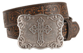 Nocona Embossed Leather Cross Buckle Belt, Brown, hi-res