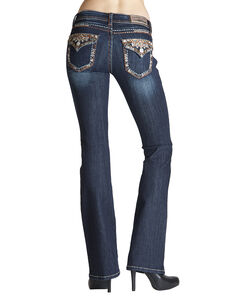 Grace in L.A. Turquoise & Rhinestone Bootcut Jeans, Denim, hi-res