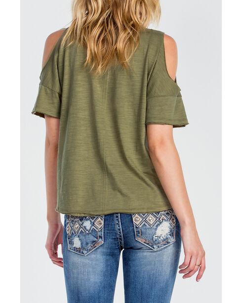 Miss Me Women's Olive Open Shoulder Shirt, Olive, hi-res