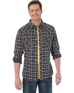 Wrangler 20X Black and Brown Plaid Western Shirt, , hi-res