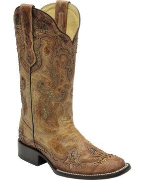 Corral Women's Cognac Antique Saddle Cowgirl Boots - Square Toe, Antique Saddle, hi-res