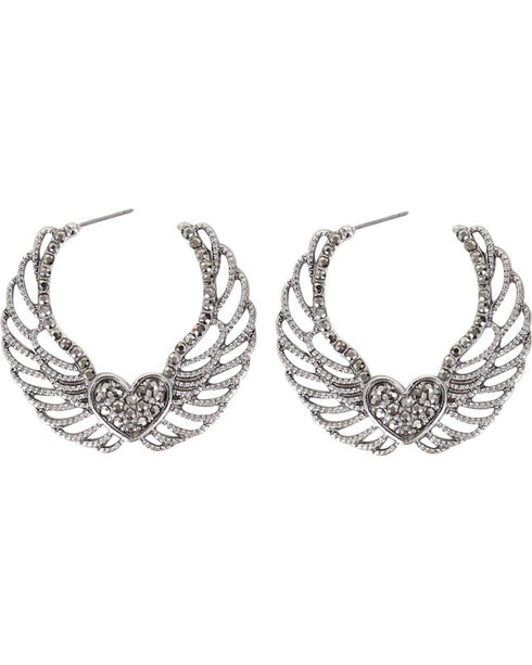 Shyanne Women's Angel Wing Hoops, Silver, hi-res
