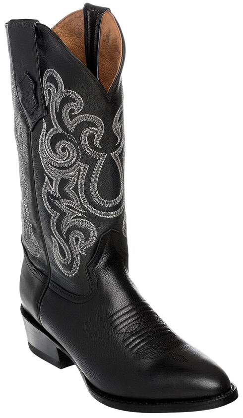 Ferrini Men's French Calf Leather Cowboy Boots - Round Toe, Black, hi-res