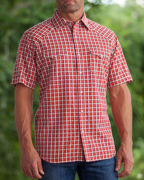 Ryan Michael Men's Arrow Dobby Short Sleeve Shirt , Red, hi-res