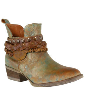 Corral Women's Green Harness and Studded Short Boots - Round Toe , Green, hi-res