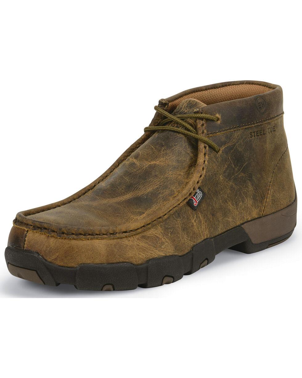 Justin Men's Cappie Dark Brown Electrical Hazard Driving Mocs - Steel Toe, Brown, hi-res