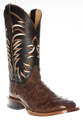 Cinch Men's Full Quill Ostrich Western Boots - Square Toe, Tobacco, hi-res