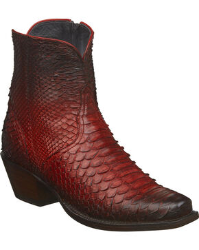 Lucchese Women's Handmade Zita Antique Red Python Ankle Boots - Square Toe, Red, hi-res