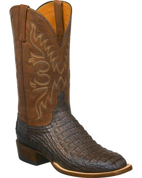 Lucchese Men's Chavez Caiman Western Boots - Square Toe, Brown, hi-res