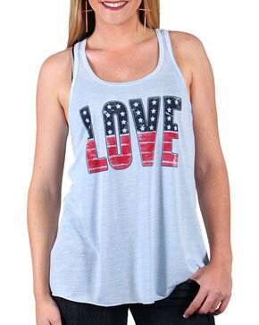 Shyanne Women's Americana Love Tank Top , Grey, hi-res