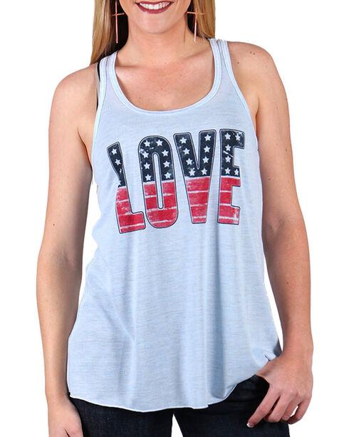 Shyanne Women's Americana Love Tank Top , Grey, hi-res