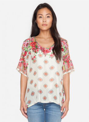 Johnny Was Women's Rose Lace Top, Multi, hi-res