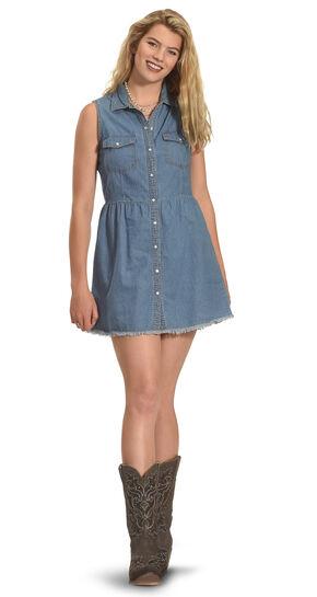 Derek Heart Women's Sleeveless Every Day Denim Shirt Dress, Dark Blue, hi-res