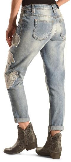 Miss Me Women's Blue Jasmine Boyfriend Ankle Cuff Jeans , Denim, hi-res