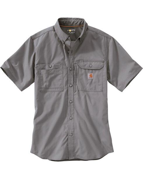 Carhartt Men's Force Ridgefield Short Sleeve Solid Shirt, Grey, hi-res