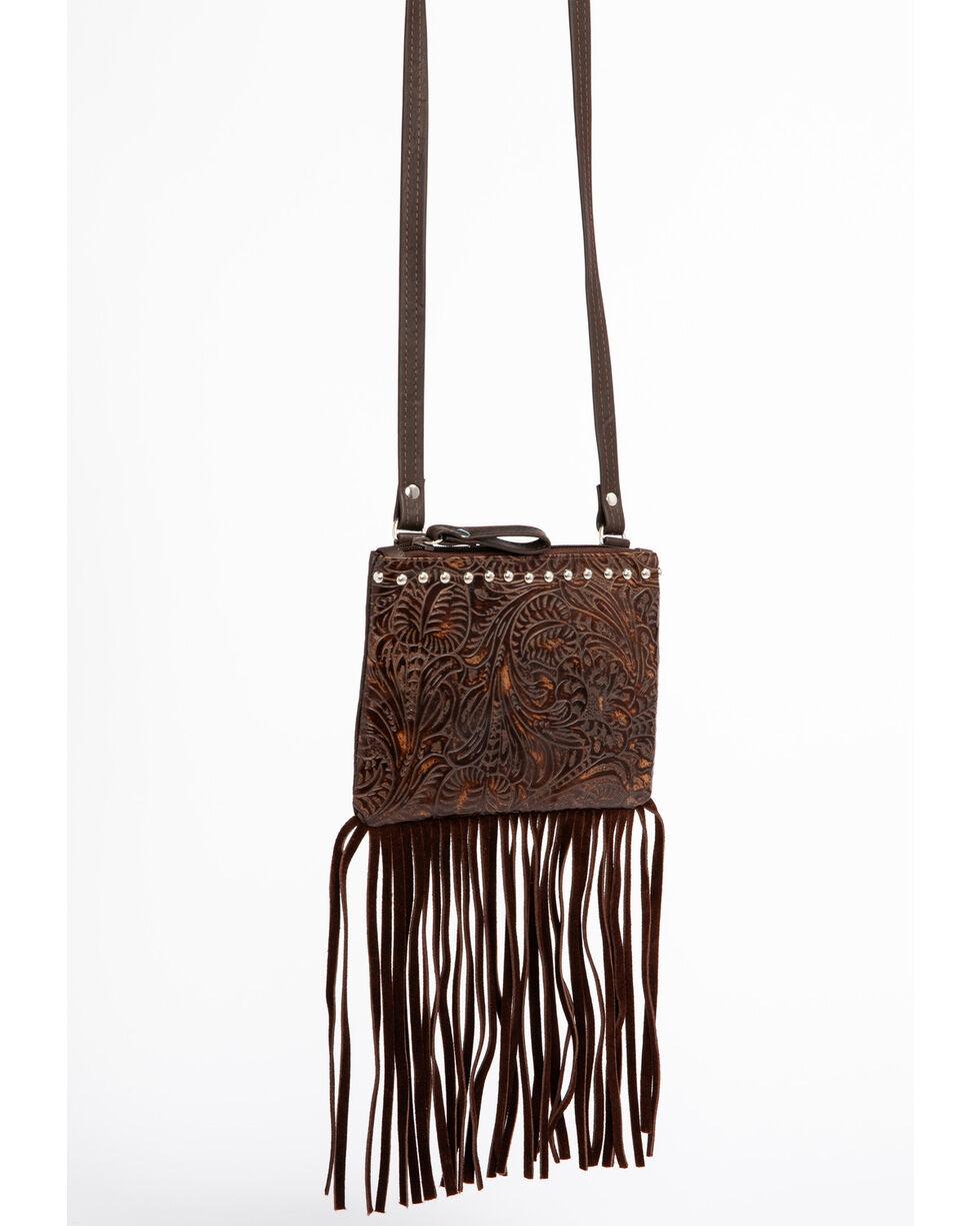 Shyanne Women's Filigree and Fringe Crossbody Bag, Brown, hi-res