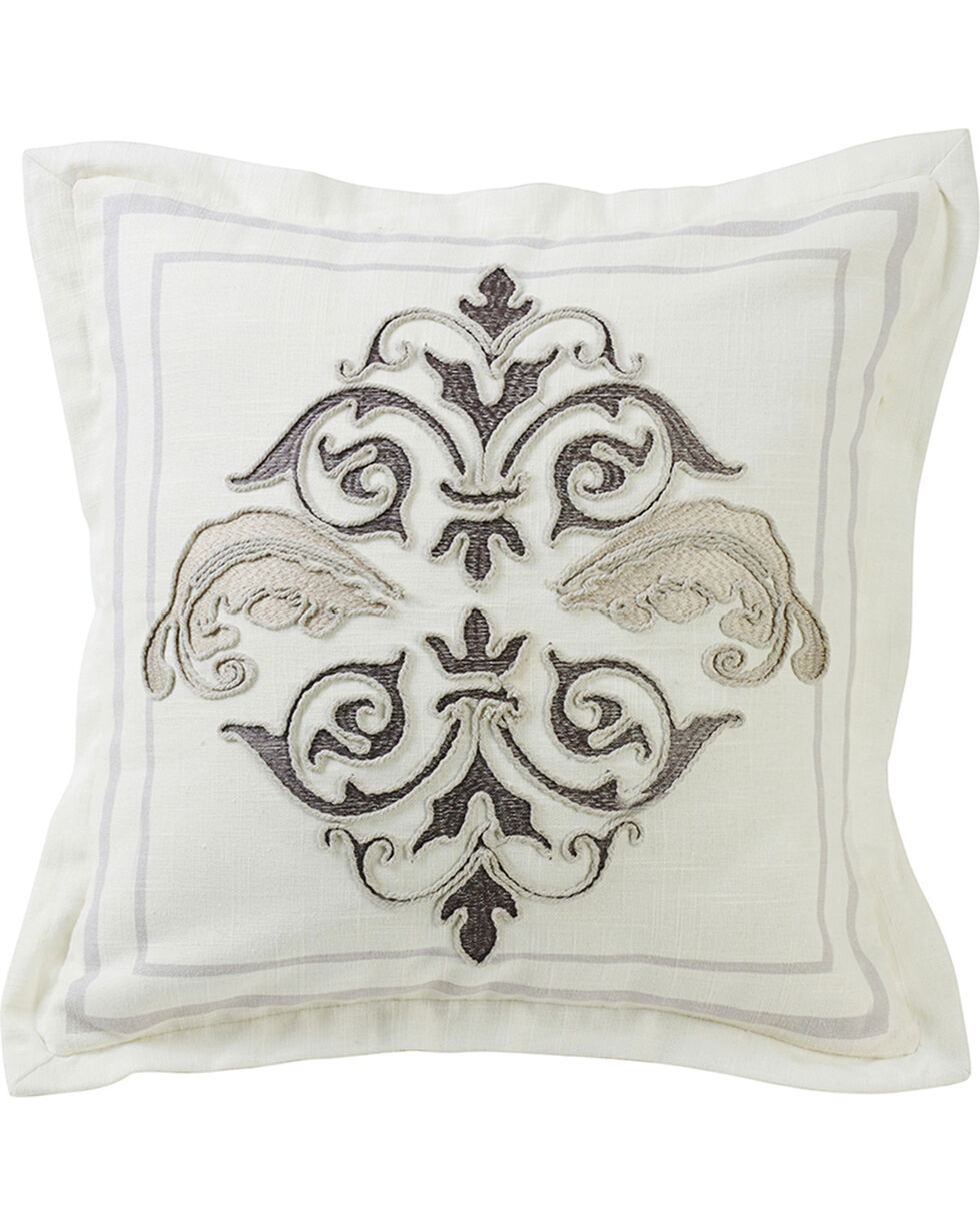 HiEnd Accents Cream Square Outlined Embroidered Design Pillow with Flange, Cream, hi-res