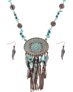 Shyanne Women's Turquoise Concho Jewelry Set, Turquoise, hi-res