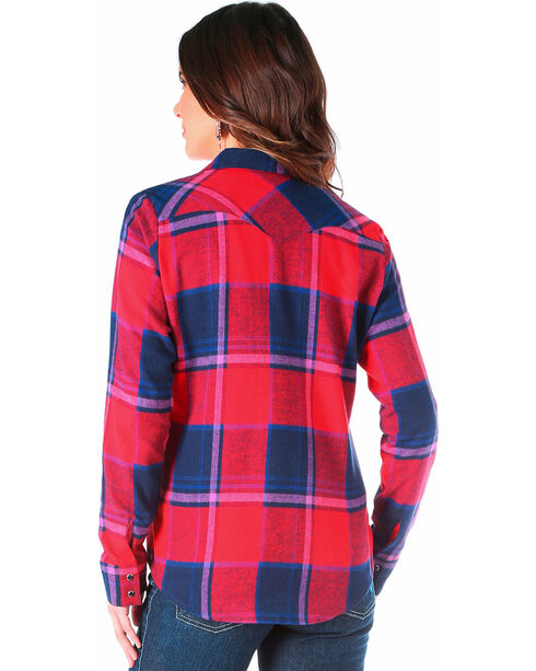 Wrangler Women's Navy Flannel Plaid Shirt , Multi, hi-res