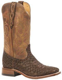Boulet Croc Print Stockman Cowboy Boots - Square Toe, , hi-res