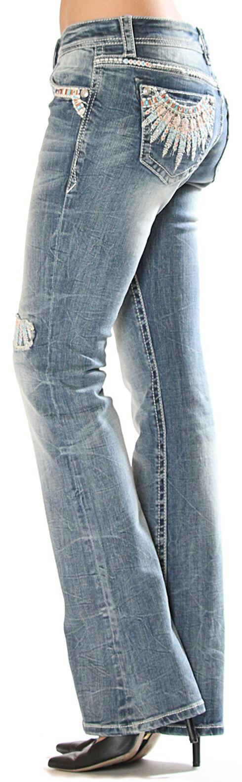 Grace in LA Women's Feather Pocket Jeans - Boot Cut , Medium Blue, hi-res